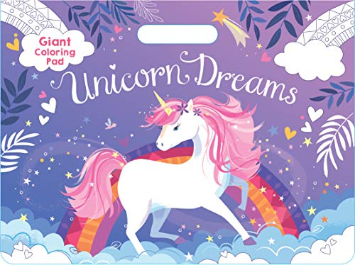 """Unicorn Dreams Jumbo Coloring Book for Girls Ages 3 and Up; 11"""" x 14 ¾"""" Oversized Sheets; Unicorns, Castles, Fairies, Flowers, Rainbows, and More; Magical Gift"""