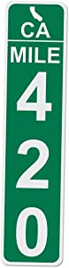 Applicable Pun California Mile Marker 420-17 Inches Tall by 4 Inches Wide Aluminum Sign (Green)