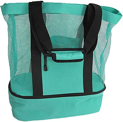 Outdoor Mesh Picnic Tote Bag Beach Bag, Picnic Bag with Detachable Insulated Cooler Closure Beach Picnic Camping Bag (Green)