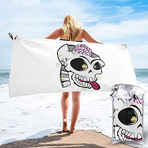 Toalla de baño expuesta con calavera de dibujos animados, toalla de gimnasio, toalla de playa, uso multiusos para deportes, viajes, súper absorbente, microfibra