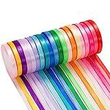 500 yardas Cinta de Raso, 20 Pack Colores Cinta de Raso Mezcla Rollo para Envolver Regalos, Decoraci...