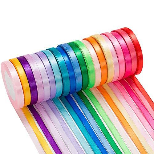 500 yardas Cinta de Raso, 20 Pack Colores Cinta de Raso Mezcla Rollo para Envolver Regalos, Decoración, Decoración Navideña