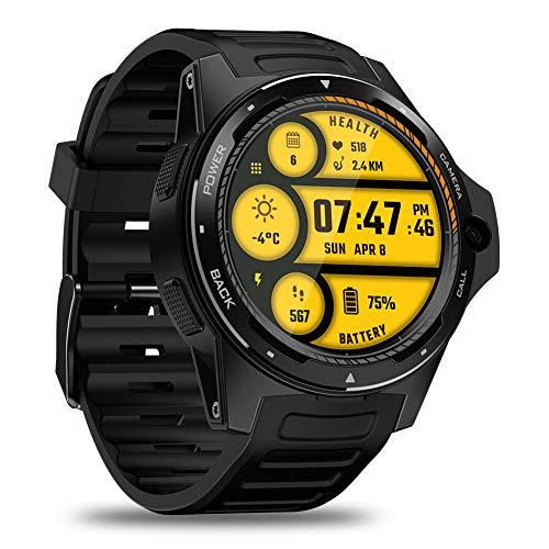 Oolife Android 7.1 OS 4G Smartwatch voor dames en heren, fitnesshorloges, WLAN, GPS met hartslagmeter, ruimte voor simkaart/camera, IP67 waterdicht