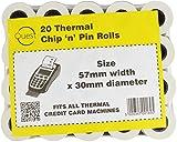 Rollos de papel térmicos Chip 'n' Pin Quest 20. Rollos tamaño: 57x 30mm Compatible con todas las máquinas de tarjeta de crédito térmicas.