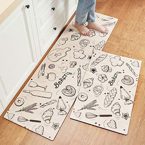 MRSGG Tapete de Cocina fácil de Limpiar, tapete Antideslizante Impermeable para los pies, tapete de Cocina Suave Antideslizante, tapete de baño, Cubierta de Alfombra-E