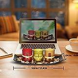Teelichthalter, Teelichthalter mit 3 Teelichter, Dekoschale mit Kerzen, Tischdekoration, Weihnachtsdekoration, Deko für Geburtstag, Party, Hochzeit, 26cm x 10cm x 8cm - 7