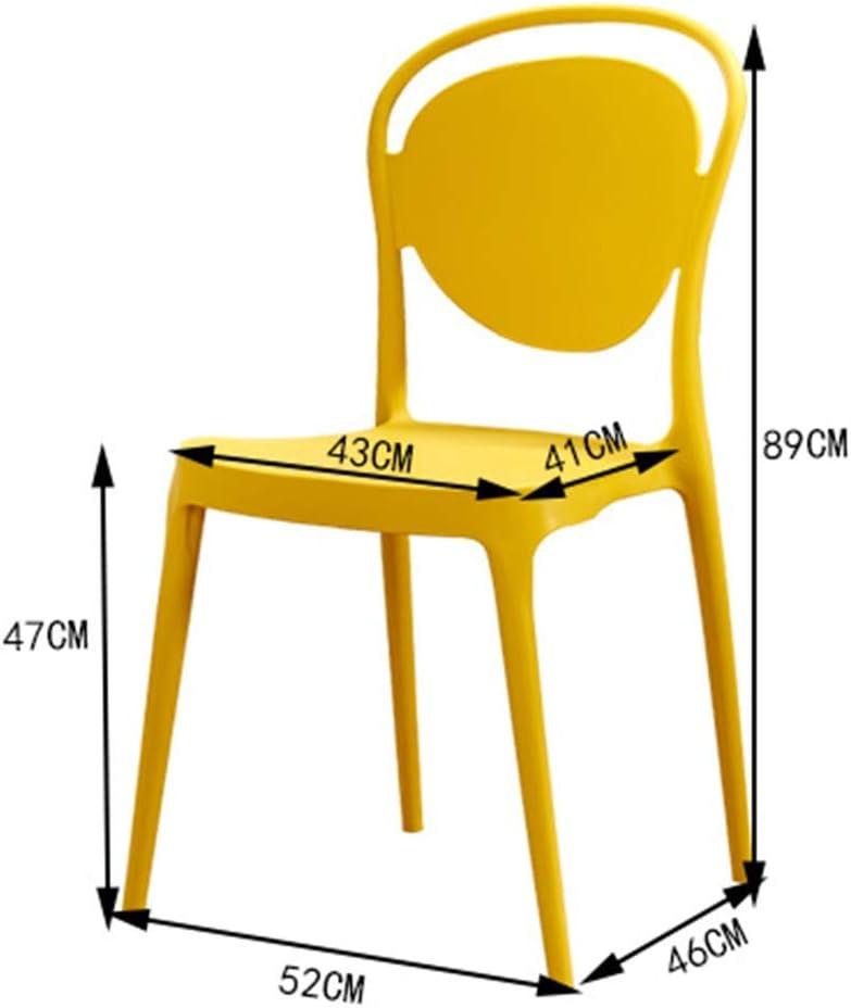 Chaise de salle à manger simple moderne Retour Creative chaise de bureau en plastique mode adulte dinant les meubles (Color : Red) White