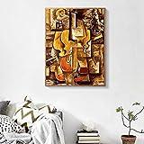 Impresión de lienzo Cuadro de arte de pared Pintura al óleo de fama mundial Violín y uvas de Pablo Picasso Cuadros de pared Regalo único 70x90cm (28x35in) Sin marco