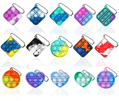 NUENUN 15PCS Fidget Toy Mini Stress Relief Hand Toys Keychain Toy Bubble Wrap Pop Anxiety Stress Reliever Office Desk Toy for Kids Adults