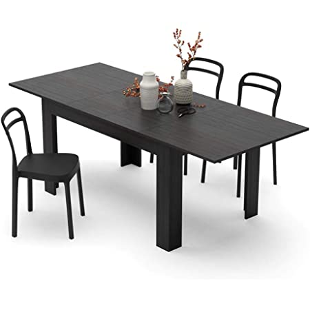 Mobili Fiver, Table Extensible Cuisine, Easy, Frêne Noir, 140 x 90 x 77 cm, Mélaminé, Made in Italy