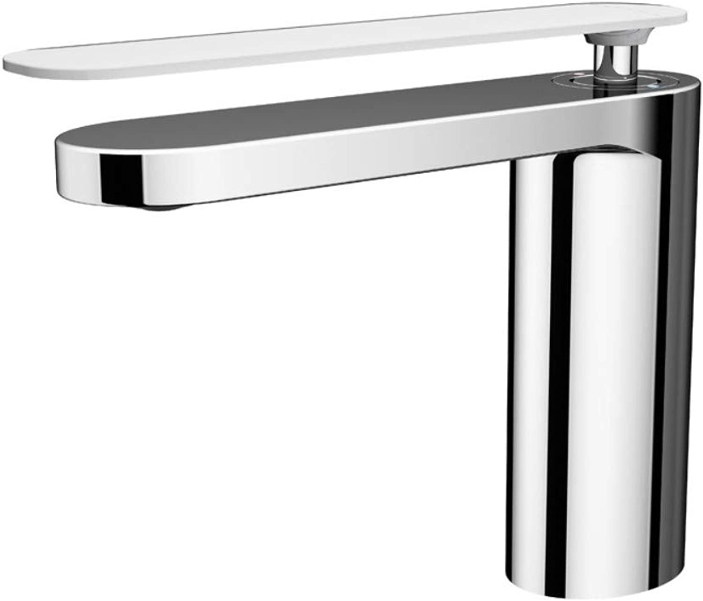 Bathroom Sink Taps Faucet Basin Faucet,Copper Chrome Mixed White Baking Copper Faucet Bathroom European Hot and Cold Double Control Basin Faucet