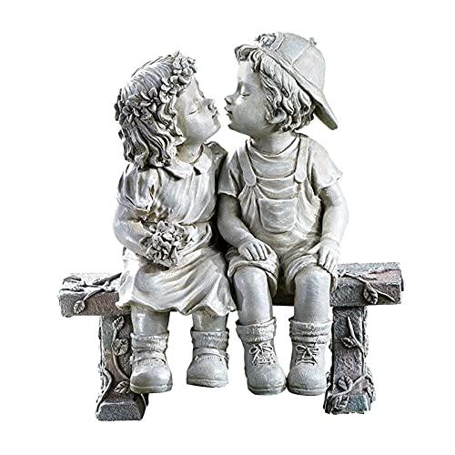 Prettyia Romantic Kids First Kiss Indoor Outdoor Yard Garden Statue, Boys and Girls Sculpture Office Bar Desktop…