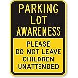 Jackgold Honey Señal de metal para aparcar con conciencia de aparcamiento, por favor no dejar niños, señal de advertencia de aluminio, 20 x 30 cm, nueva decoración de pared