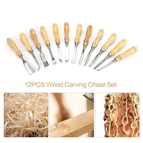 12pcs / Set Profesional de talla de madera Juego de cinceles de...
