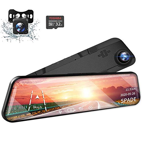 SPADE 12' 2.5K Mirror Dash Cam Touch Screen Voice Control, GPS Tracking, Waterproof Backup Rear View Camera, Loop Recording, Night Vision, Parking Monitor(32GB SD Card Included)