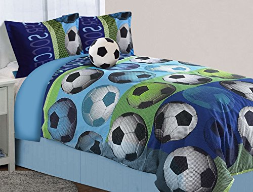 All American Collection 4 Piece Full Size Soccer Comforter Set with Furry Friend (4PC Full Size)