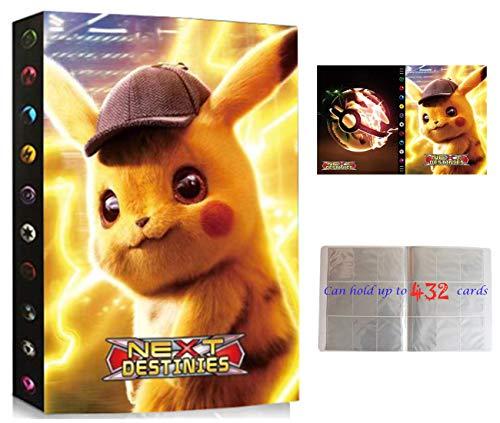 Raccoglitore Compatibile Con Carte Pokemon, Porta Carte Compatibile Con Pokemon, Album Cartella Libro Compatibile Con Carte Pokemon GX, 24 Pagine - Può Contenere Fino a 432 Carte (ZT-PIKACHU)