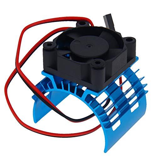 Fielect Aluminium Elektromotor Kühlkörper mit Lüfter blau für DIY gebürstet bürstenlosen Motor