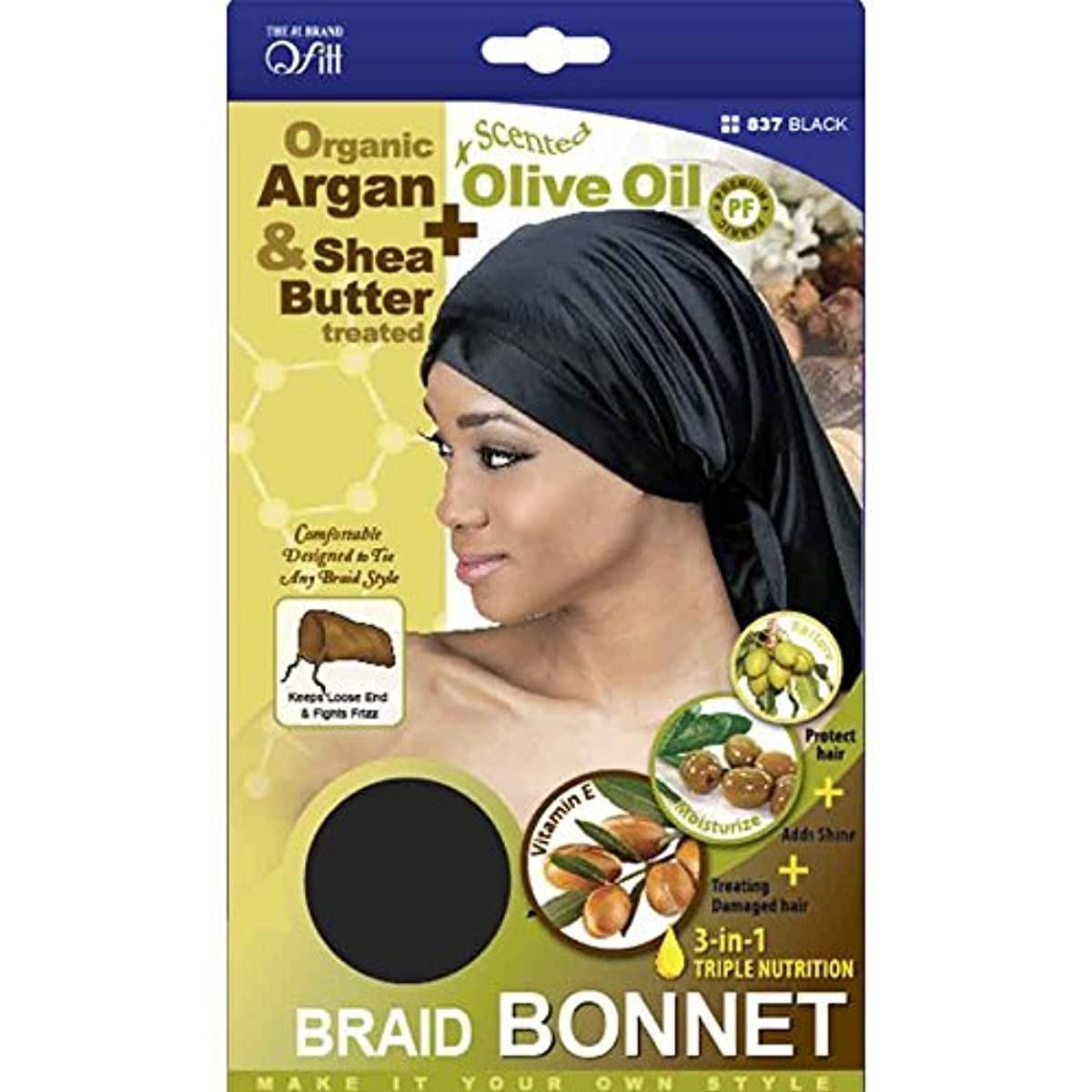 (3 Pack) Qfitt – Premium Braid Bonnet #837