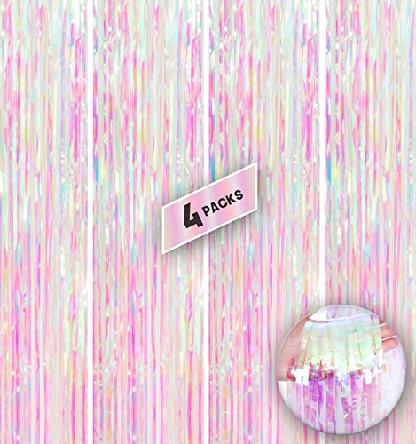 Xtra Large Transparent Foil Fringe Curtain - 3.2 x10 Feet   Pack of 4   White and Pink Metallic Tinsel Fringe Streamers for Birthday, Baby Shower   Holographic Backdrop for New Years Eve Decorations