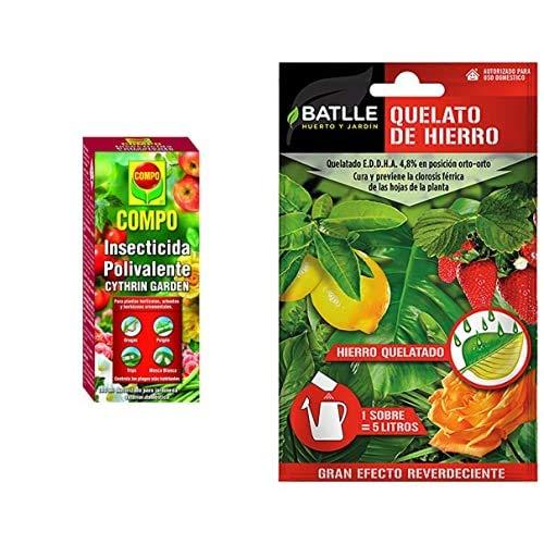 Compo Cythrin Garden Insecticida Polivalente, Para Plantas Hortícolas, Arbustos Y Ornamentales, 100 Ml + Abonos - Fertilizante Quelato De Hierro Sobre Para 5L