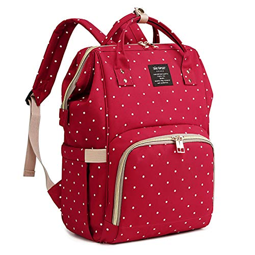Qimiaobaby Changing Bag Backpack Waterproof Travel Baby Diaper Bag, Stylish Large Capacity Nappy Backpack with Changing Mat and Stroller Straps (Red dot)