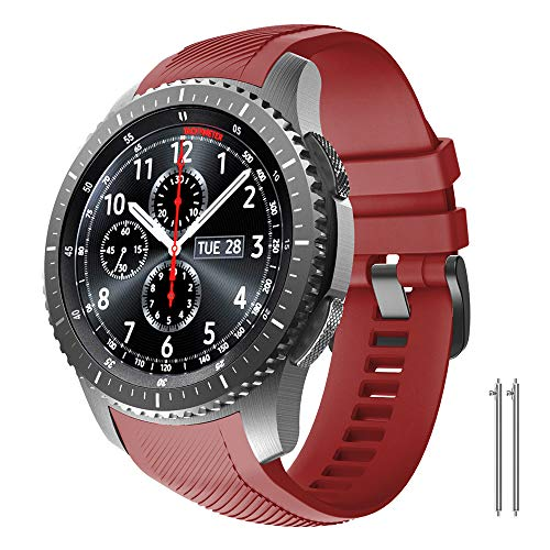 NotoCity Cinturino per Samsung Gear S3 Classic/Frontier/Galaxy Watch 46mm, Cinturini di Ricambio in Silicone 22mm per Gear S3 Classic / S3 Frontier/Galaxy Watch 46mm (Rosso)