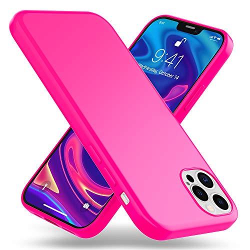 Kaliroo Neón Cover Compatible con iPhone 12 Pro MAX Funda, Delgado Silicona Carcasa Protectora Vistoso Bumper Resistente, Slim Case Suave Telefono Movil Proteccion Cubierta Estuche, Color:Pink Rosado