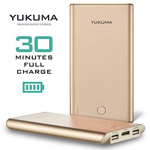 Yukuma Power Bank - Schnellste Aufladung - 30 Minuten - 10000 mAH - Tragbare Akku Schnellaufladung Externe Ladestation für Handys, Tablets [Deutsche Konstruktion] (CE zertifiziert) - Champagne-Gold