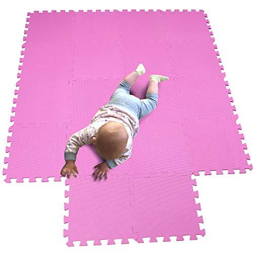 MQIAOHAM Esterilla Puzzle de Fitness-18 losas de EVA Espuma Alfombrilla Protectora Protección para el Suelo para máquinas de Deporte y gimnasios sobre el Piso Fácil de Limpiar Rosa 103