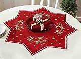 Kamaca Stickpackung Stern mit BLAUMEISEN in ROT in Sternen - Form mit Spitze Stickdecke 75x75 cm Spannstich Plattstich vorgezeichnet aus Baumwolle komplettes Stickset mit Stickvorlage Weihnachten