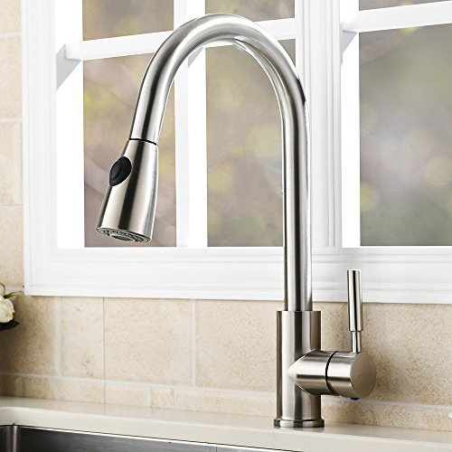 VAPSINT Modern Stainless Steel Single Handle Single Hole Pull Out Spray Kitchen Faucet, Brushed Nickel Pull Down Kitchen Sink Faucets