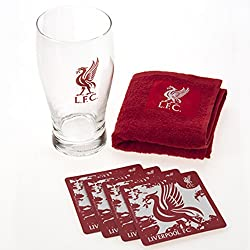 Liverpool FC Mini Bar Pack With Pint Glass 4 Beer Mats and 1 Bar Towell