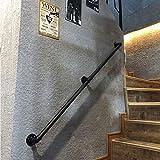 OUG- Barandilla de Hierro Forjado Negro, barandilla Antideslizante para escaleras, Poste de Apoyo para el Pasillo de niños Mayores de Pared a Pared, barandilla de Seguridad montada en la (30-600 cm)