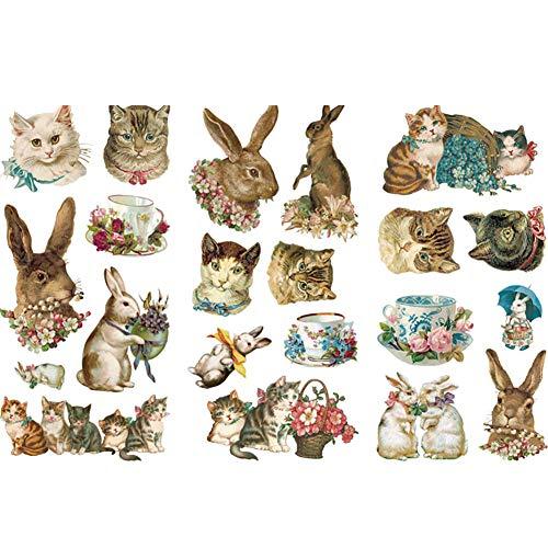 CAOLATOR Sticker Aufkleber Katze&Hase Muster Mädchen Papier Stickerbögen für Scrapbooking Fotoalbum Stickerbuch Stickeralbum Tagebuch Notizbuch Kalender Dekoration