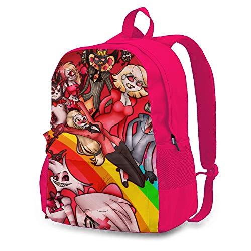 Childrens School Bag Hazbin Hotel H Bookbag Outdoors Rucksack Lightweight Backpack for Men/Women/Girls Pink 145526494