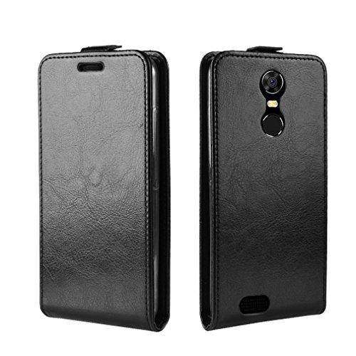 LMFULM® Hülle für OUKITEL C8 3G / 4G (5,5 Zoll) PU Leder Magnet Brieftasche Lederhülle Up-Down-Flip Design Standfunktion Ledertasche Cover für OUKITEL C8 Schwarz