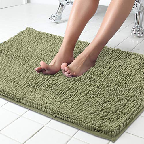 ITSOFT Non Slip Shaggy Chenille Soft Microfibers Bath Mat for Bathroom Rug Water Absorbent Carpet, 34 x 21 Inches Sage Green