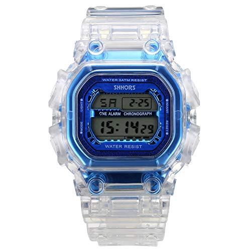Lancardo Reloj Electrónico de Hombre Mujer Unisex Reloj Deportivo Correa Plástico Transparente Dial Esfera Cuadrada Pantalla LED Reloj Digital Multifunción Impermeable de 3 ATM Reloj Azul Elegante