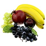 Gresorth Mixed Fruits Fake Banana Grape Brin Pomegranate Set Artificial Fruit for Christmas Party Decoration Realistic