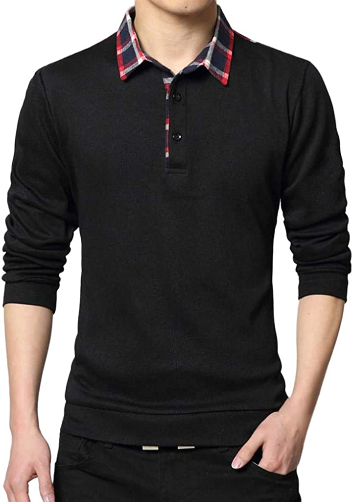 TOPUNDER Mens Spring Casual T-Shirt Fashion Lapel T-Shirt Checked Long Sleeve Tops Blouse