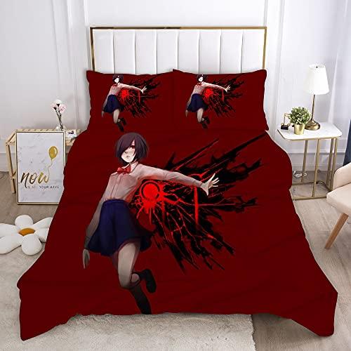 Probuk Tokyo Ghouls - Biancheria da letto in microfibra con copripiumino e federa (A-07,220 x 260 cm (80 x 80 cm)