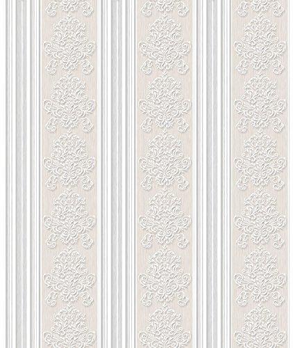 Papel de Parede, Listra e Arabesco com Relevo, Bege/Cinza, 1000x52 cm, Bobinex Uau