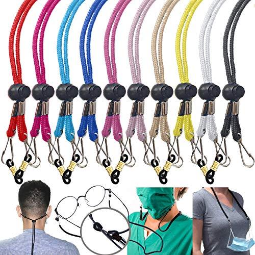 [ 10 Pack Multi Color] Mask Lanyard Adjustable Mask Neck Strap – Multifunction Face Mask Lanyards for Women Men Elderly - Mask Lanyard with Clips Glasses Cord Strap Safety Mask Holder