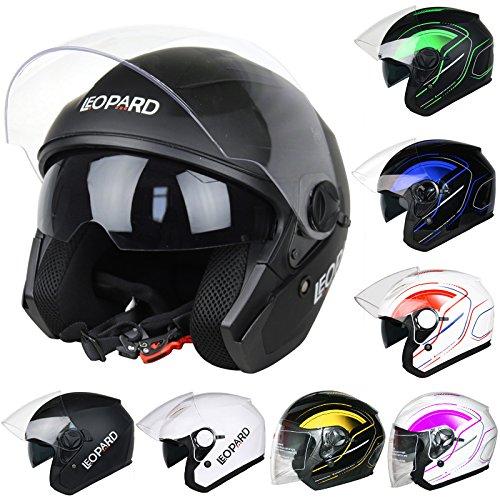 faa21145 Leopard LEO-608 Double Sun Visor Open Face Motorbike Motorcycle Helmet Road  Legal - Matt