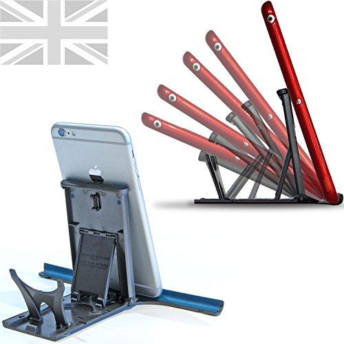 Pocket verstelbare iPad Stand - Ultimate Stable Ondersteuning Compatibel met alle iPads, tablets, iPhones, kookboeken en meer. Voor desktop, kantoor, keuken en in bed!, 66x114x10mm, Graphite/Teal