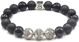 Men's Onyx and Lava Stone Bracelet, Black Obsidian and Sterling Silver Bracelet, Black Beads Bracelet, Men's Premium Bracelet.