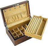GDSKL Caja de Almacenamiento de Joyería Caja de Pulsera Caja de Joyería Caja de Almacenamiento de Madera de Sauce Soporte de Exhibición de Vidrio