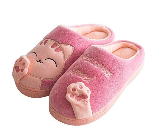 Minetom Invierno Mujer Hombre Felpa Suave Calentar Antideslizantes Cartoon Gato Zapatillas de Estar Zapatos de Algodn para Adulto D Rosa EU 39 40