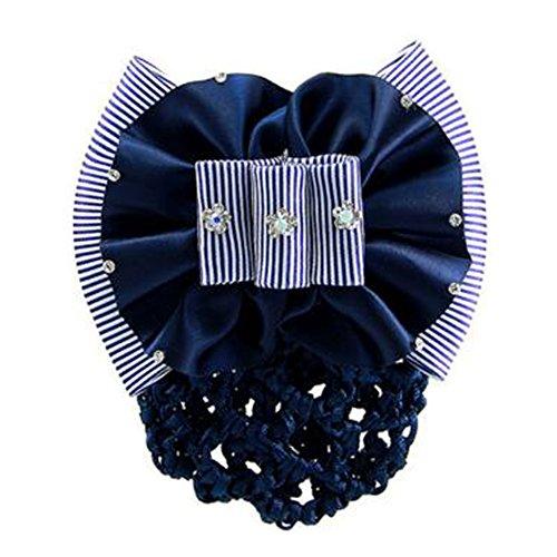 2PCS Mesh cheveux Barrette Snood Elastic Bun Cover Bowtie Hairnets, Bleu